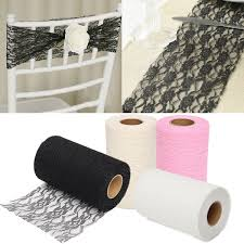 Tulle Fabric Wedding Decorations 24 Yards Lace Roll Fabric Tulle Table Runner Chair Sash Craft
