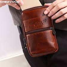 chezvous cowhide genuine leather belt clip pouch for iphone x 8 7 6 mens waist pack
