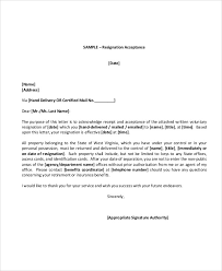 Volunteer Resignation Acceptance Letter