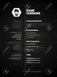 Minimalist Cv Resume Template With Simple Design Vector Dark
