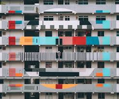 a colorful apartment block building white balance photography