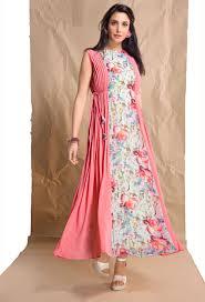 Kurta Top Designs Readymade Pink White Cotton Printed Ladies Top Kurti