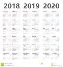3 Year Calendar Yearly Wall Calendar Planner For Next 3 Years 2018 To 2020 Vector