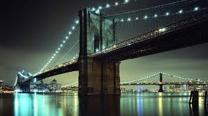 Brooklyn Bridge Lights City Urban Bridge Lights River Reflection Brooklyn