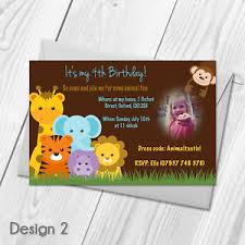 Safari Party Invitations Farm Animal Invitations Personalised Kids Zoo Safari Birthday