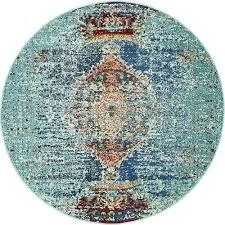 unique loom arte turquoise 4 x 4 round rug