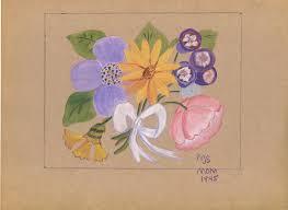 details about vintage naive primitive folk art wild flowers 1940 s watercolor painting paper