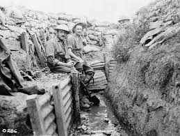 archived trench warfare oral histories of the first world war photograph of two canadians from the 22nd infantry battalion resting from work on draining their trench