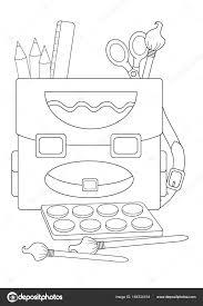 School Elementen Kleurplaat Pagina Stockvector Illustratorhft