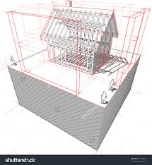 diagram of a framework construction of a detached house with d    diagram of a framework construction of a detached house   d dimensions
