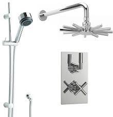 new helix dual shower system with chrome cloudburst rain head rail kit handset