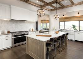 these modern kitchens incorporate the sleek straight lines of contemporary design with the layers curves and softness of traditional design