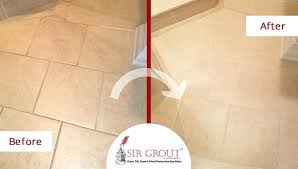 grout and tile sealer before and after picture of a porcelain tile bathroom grout sealing service grout and tile sealer