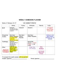 Weekly Homework Planner Free 8 Homework Planner Examples Templates Download Now