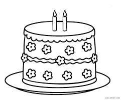 Cake Coloring Page With Of A Birthday Pages Happy Candles Red