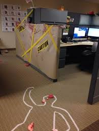 office halloween decoration. Exellent Decoration Cube Decorating Contest In The Office Happy Halloween Crime Scene In Office Halloween Decoration A
