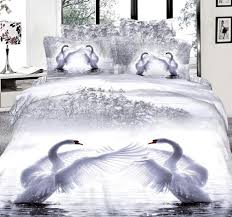 3d white swan bedding set super king size queen full double quilt duvet cover fitted sheets bed in a bag bedspreads cotton silver bedding queen bedding from