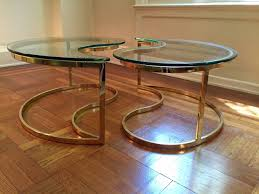 chic ying yang motiffe brass and glass coffee cocktail table at 1stdibs