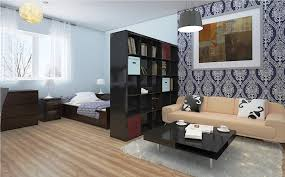 Neat Couch Facing Square Black Table Of IKEA Studio Apartment Bedroom Space