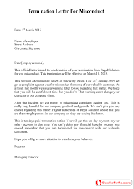 dismissal termination letter for