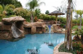 Interesting Backyard Pool With Slides Area Inside Inspiration Decorating