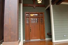 grand wooden exterior door styles with half glass panel as craftsman front doors in country style porch inspirations