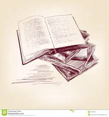 books hand drawn vector lration realistic sketch