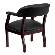 leather captain side chair with nailhead trim in black or burdy