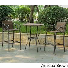 bar height patio table with fire pit beautiful international caravan valencia resin wicker steel 3 piece bar