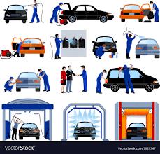 Car Wash Tunnel Design Car Wash Service Flat Pictograms Set
