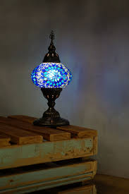 blue ufo mosaic table lamp the dancing pixie lamps for living room uk john lewis target