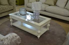 devon painted coffee table with glass insert