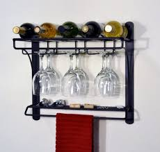 decorating outstanding wall mounted wine glass rack 17 black painted metal holder racks shelves with towel