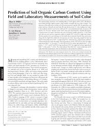 Pdf Prediction Of Soil Organic Carbon Content Using Field