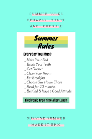 Summer Rules Behavior Chart Schedule For Kids