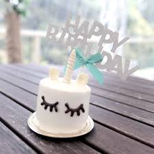 Mini Black Happy Birthday Cake Topper Boufe Boutique Cafe