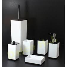 black and white bathroom accessories. Interesting Black ACRYLIC BLACK U0026 WHITE BATHROOM ACCESSORIES  SET UTENSIL  INCLUDING TOILET BRUSH LOTION DISPENSER TOOTHBRUSH HOLDER CUPTUMBLER  Inside Black And White Bathroom Accessories A