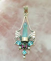 angel blessings aqua aura angel wing pendant