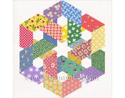 Hexagonia quilt block pattern paper pieced quilt pattern & 🔎zoom Adamdwight.com