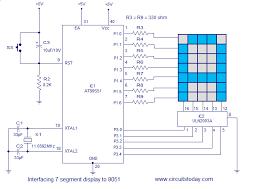 interfacing dot matrix led display to 8051 microcontroller circuit diagram interfacing dot matrix led display to 8051