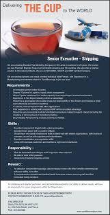 careers qualitea ceylon pvt senior shipping executive