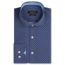 Bugatchi Charts Shaped Fit Long Sleeve Button Up Sport Shirt Navy