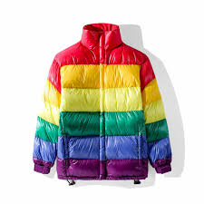 new winter men down jackets rainbow stripe stitching contrast short down jacket couple jacket men women