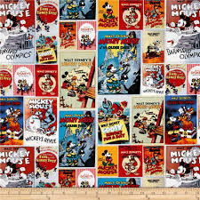 Disney Posters Mickey & Minnie Poster Multi from @fabricdotcom ... & Vintage Disney Poster Fabric- Mickey and Minnie Movie Poster Fabric-  Springs… Adamdwight.com