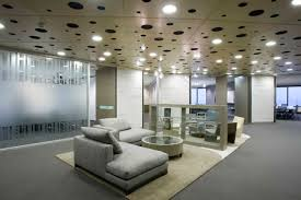 cool modern office decor. cool modern office design ideas with recessed lighting and gray sofa plus area rug decor