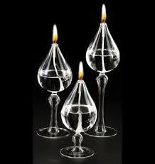 clear glass teardrop oil candle centerpiece