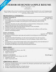 Brilliant Ideas Of Resume Samples For Interior Designers Great