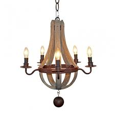 more views farmhouse wood chandelier 5 light candle style
