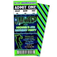 Party Ticket Invitations Custom Amazon Trampoline Party JUMP Birthday Invitations Boy Green