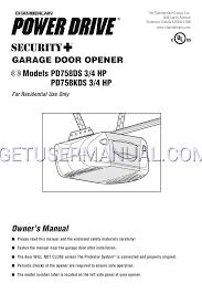 chamberlain garage door opener pd758kds 3 4 hp user s manual